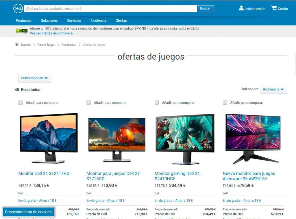 Captura de la web de dell, monitores gaming