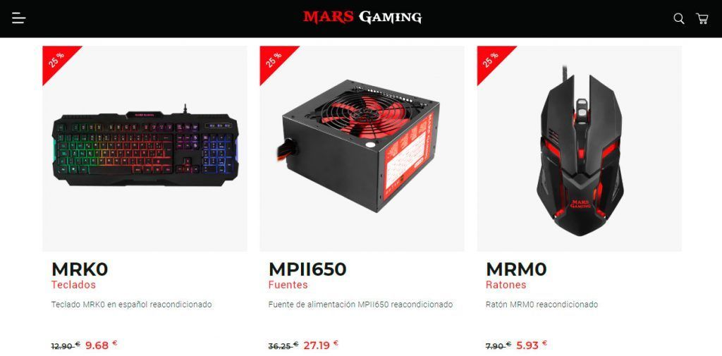 captura de algunas productos ofertados en el outlet de Mars Gaming