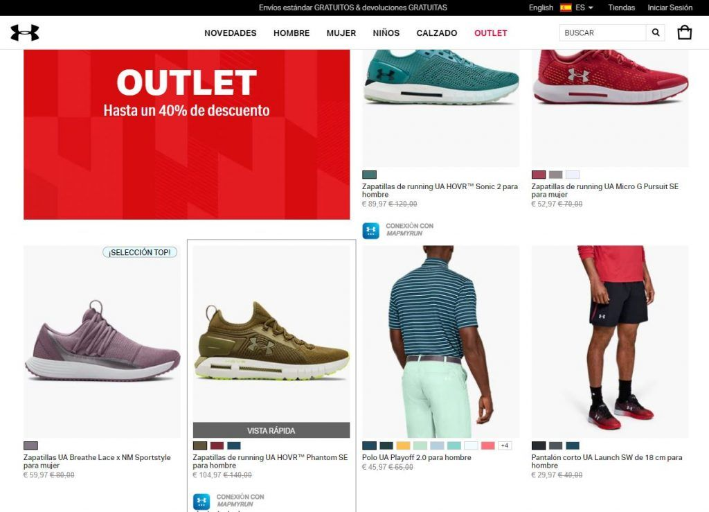 Outlet online de Under Armour